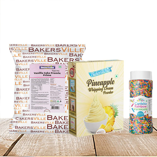 Cake Decoration Kit (Combo Pack of BakersVeggie EggLess Vanilla Cake Premix  Prime (1Kg), BakersWhip Pineapple Whipping Cream(450 gm) & Wow Confetti Rainbow Vermicelli (150 gm) - Bakersville Shop