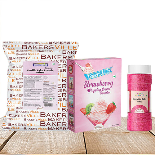 Cake Decoration Kit (Combo Pack of BakersVeggie EggLess Vanilla Cake Premix  Prime (1Kg), BakersWhip Strawberry Whipping Cream (450 gm) & Wow Confetti Pink Balls (150 gm)) - Bakersville Shop