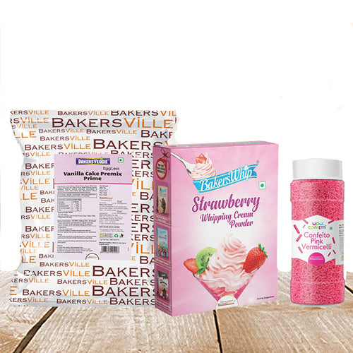 Cake Decoration Kit (Combo Pack of BakersVeggie EggLess Vanilla Cake Premix  Prime (1Kg), BakersWhip Strawberry Whipping Cream (450 gm) & Wow Confetti Pink Vermicelli (125 gm) - Bakersville Shop
