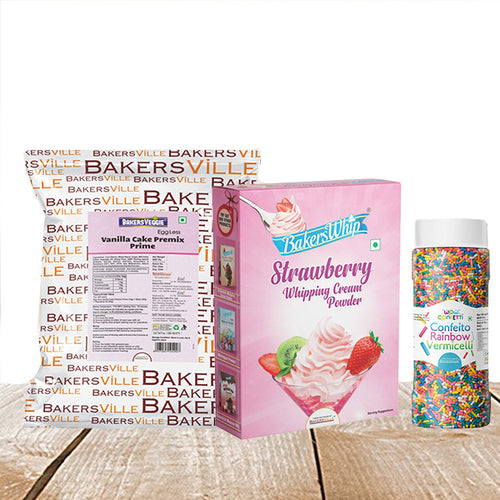 Cake Decoration Kit (Combo Pack of BakersVeggie EggLess Vanilla Cake Premix  Prime (1Kg), BakersWhip Strawberry Whipping Cream (450 gm) & Wow Confetti Rainbow Vermicelli (125 gm) - Bakersville Shop