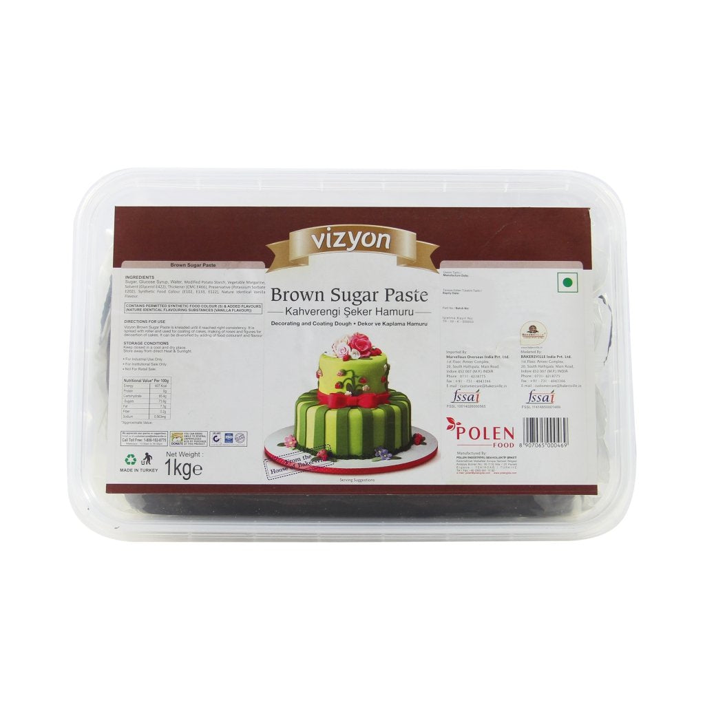 Vizyon Sugar Paste Fondant Brown, 1 KG - Bakersville Shop
