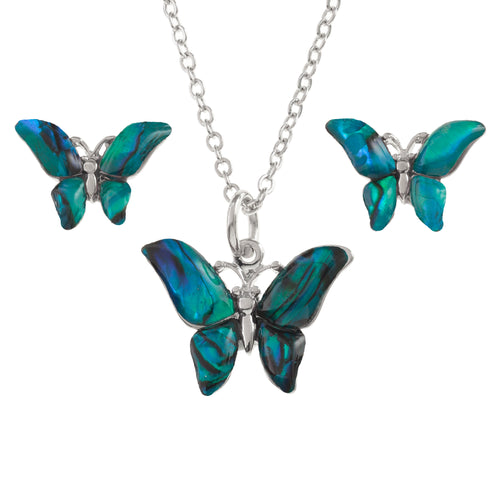 Paua Shell Butterfly Necklace & Earrings Set