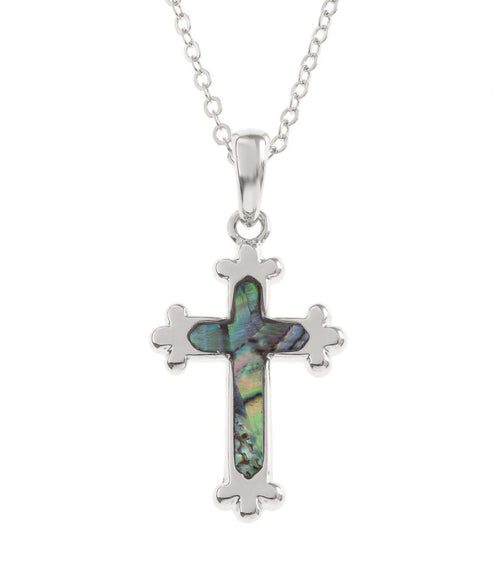 Paua Shell Silver Cross Necklace
