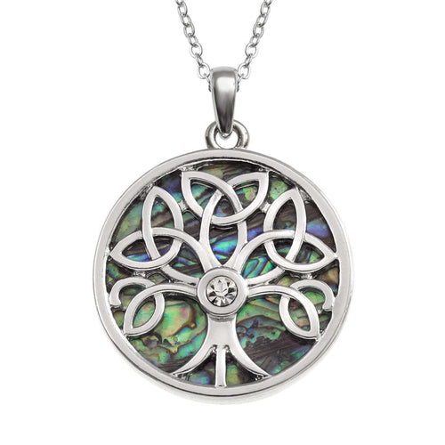 Paua Shell Celtic Tree Of Life Necklace