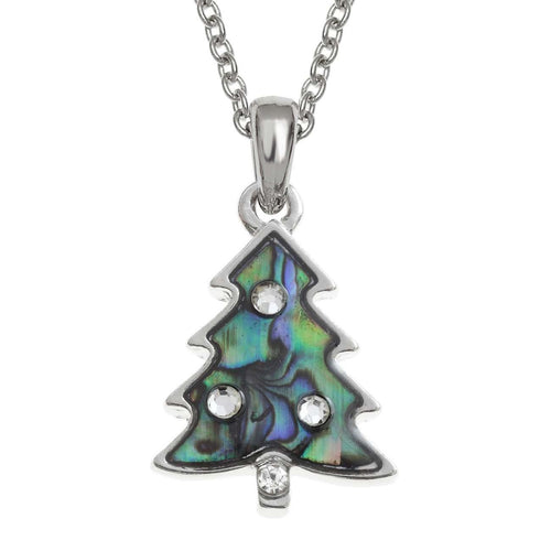 Paua Shell Christmas Tree Necklace