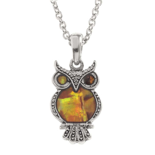 Paua Shell Orange Owl Necklace
