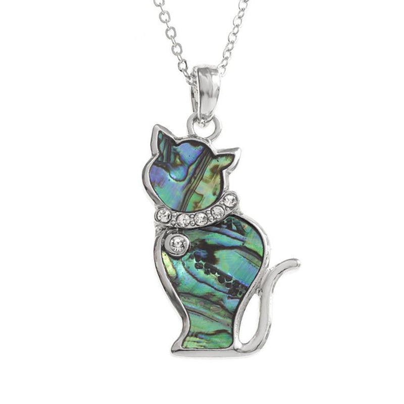 Paua Shell Sitting Cat Necklace
