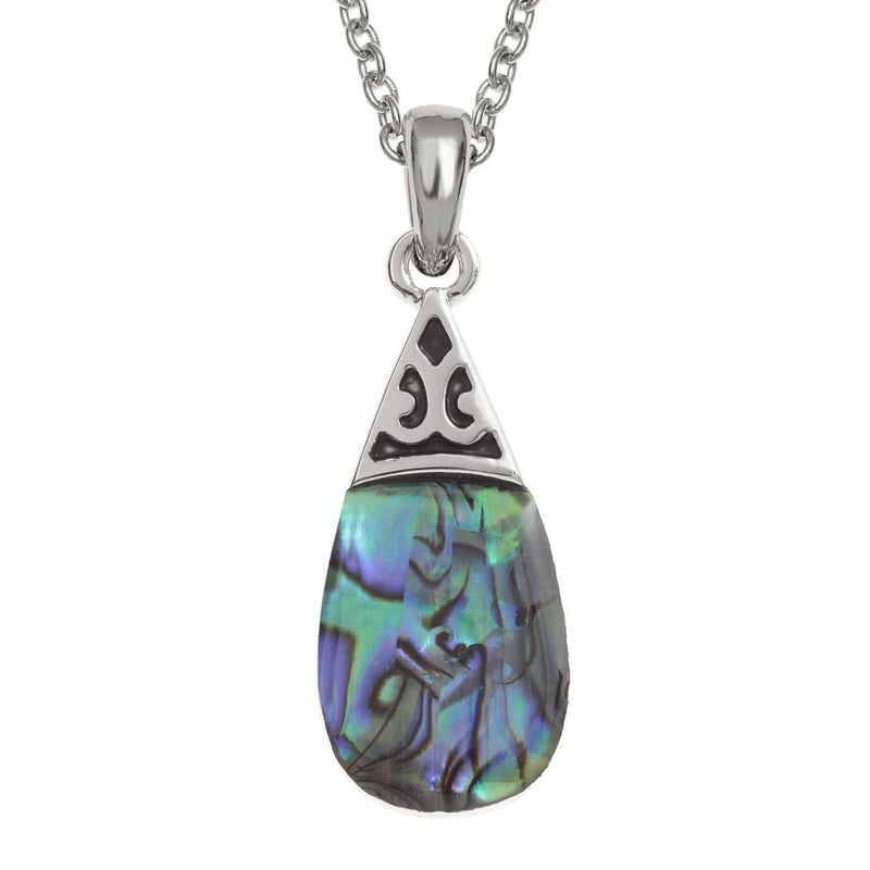 Paua Shell Green Pear Drop Necklace