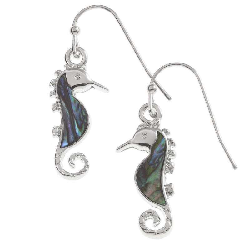 Paua Shell Seahorse Earrings