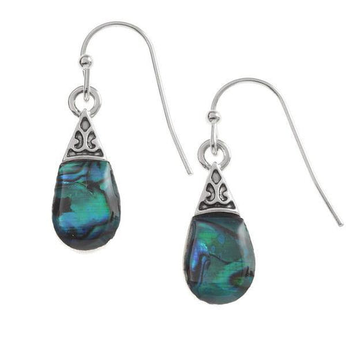 Paua Shell Blue Pear Drop Earrings