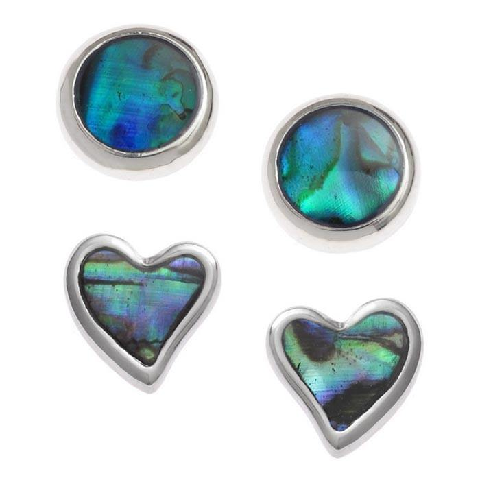 Paua Shell Two Pairs Round Stud Earrings