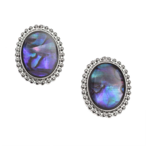 Paua Shell Blue Cameo Clip-on Earrings