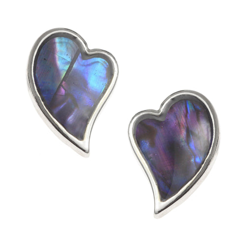 Paua Shell Blue Heart Stud Earrings