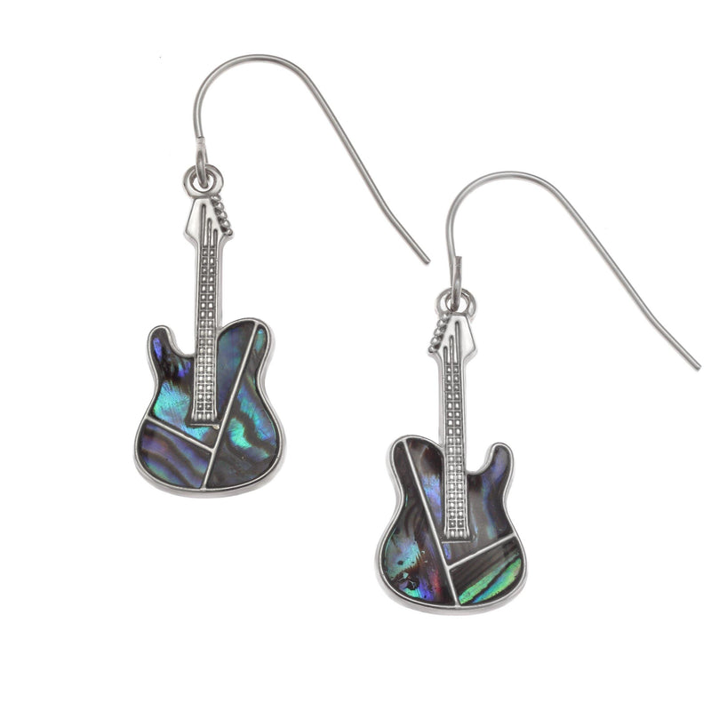 Paua Shell Guitar Drop Earrings