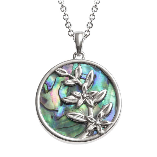 Paua Shell Flower Branch Necklace
