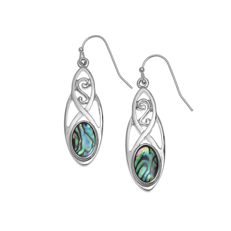Paua Shell Celtic Drop Earrings