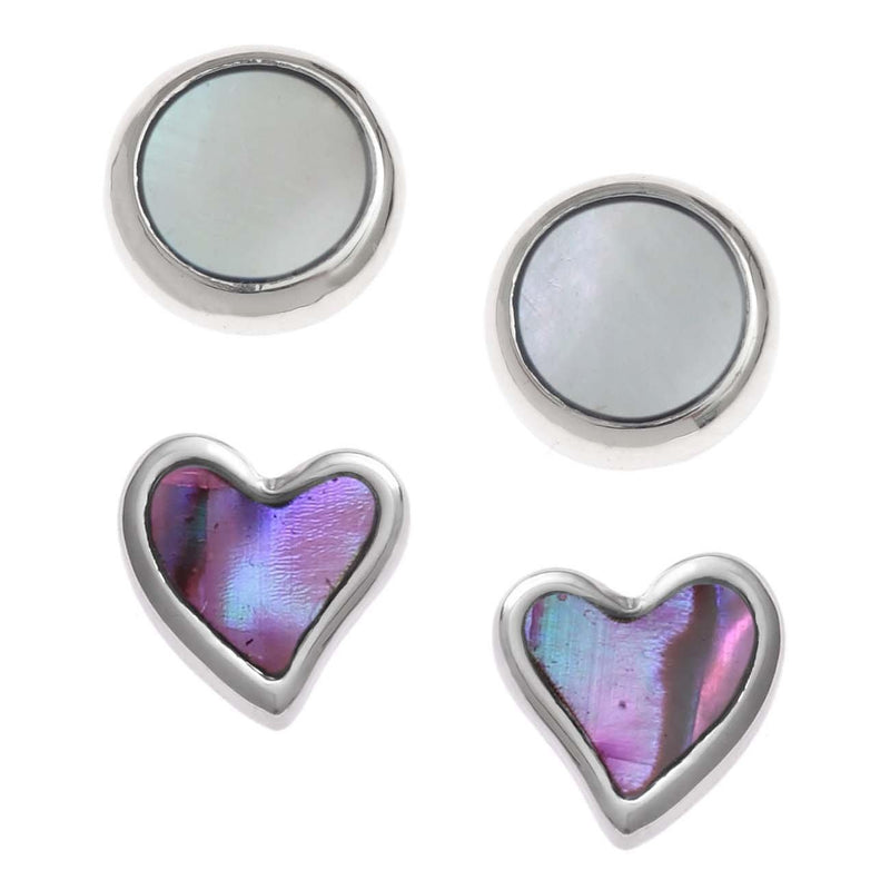 Paua Shell Two Pairs Stud Earrings