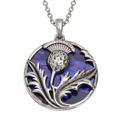 Paua Shell Purple Celtic Thistle Necklace
