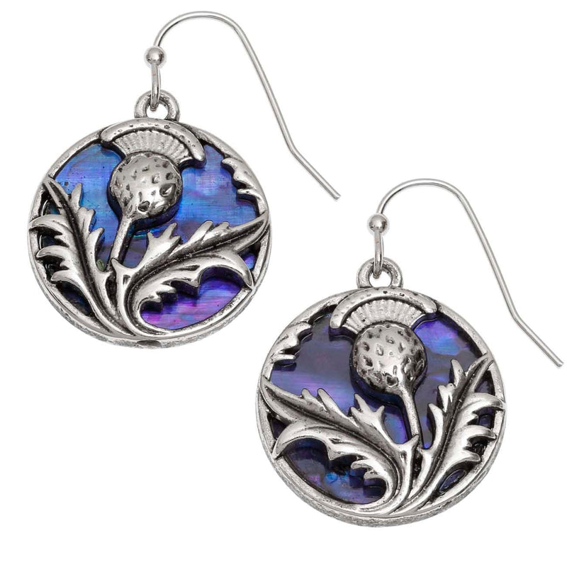 Paua Shell Purple Celtic Thistle Earrings