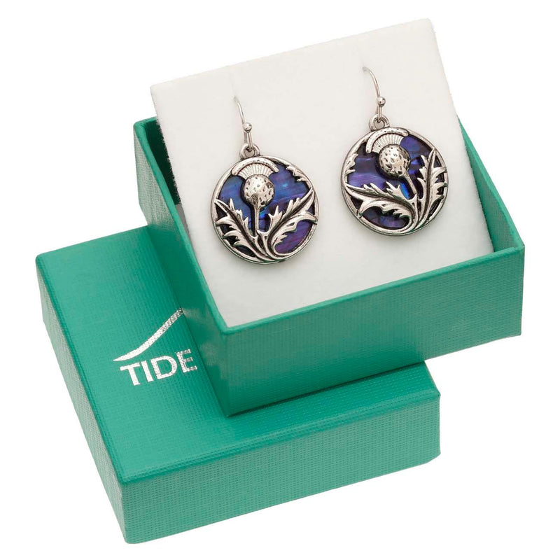 Paua Shell Purple Celtic Thistle Earrings Boxed