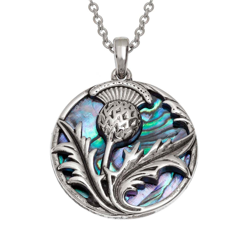 Paua Shell Celtic Thistle Necklace