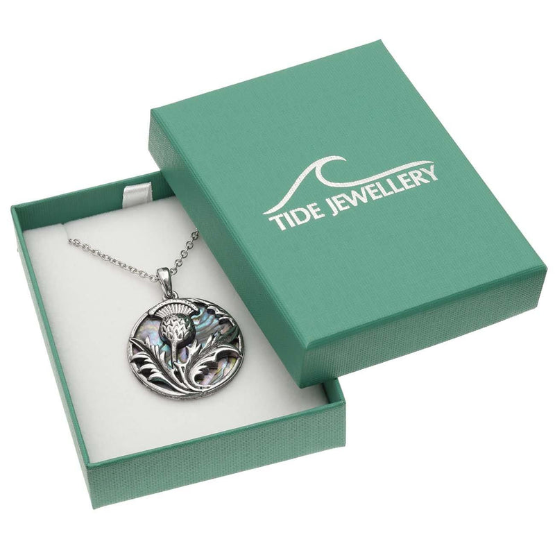 Paua Shell Celtic Thistle Necklace Boxed