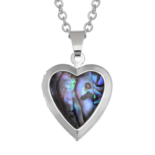 Paua Shell Heart Locket Necklace