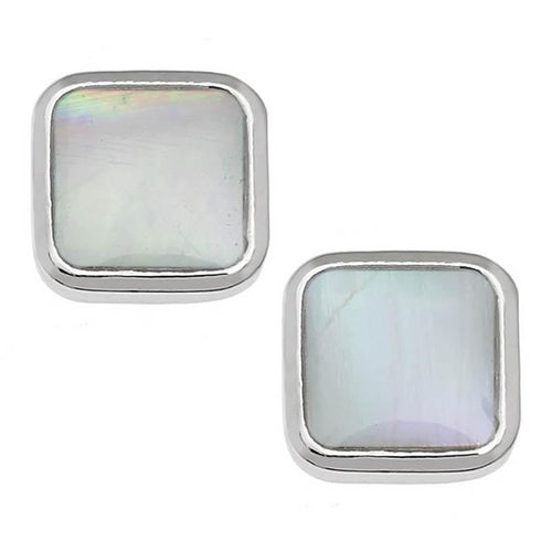 Mother of Pearl Square Stud Earrings