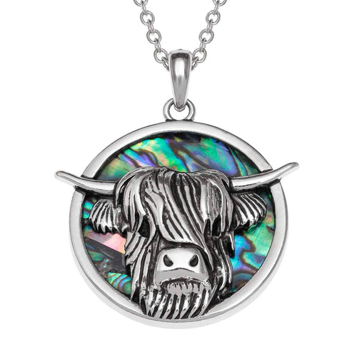 Paua Shell Highland Cow Necklace