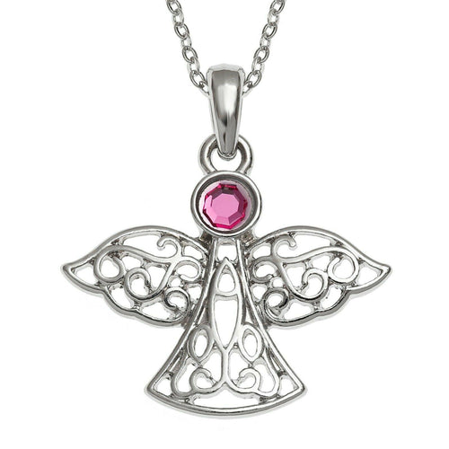 Pink Crystal Guardian Angel Necklace