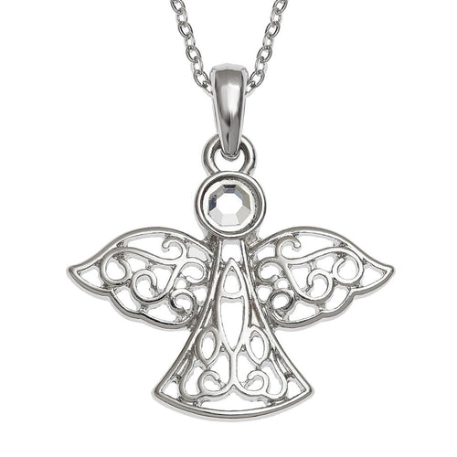 Aurora Borealis Crystal Guardian Angel Necklace