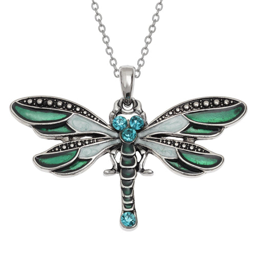 Dragonfly Enamel & Crystal Necklace