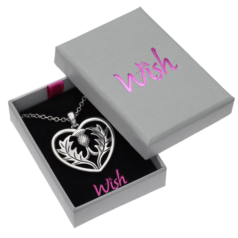 Celtic Thistle Heart Necklace Boxed