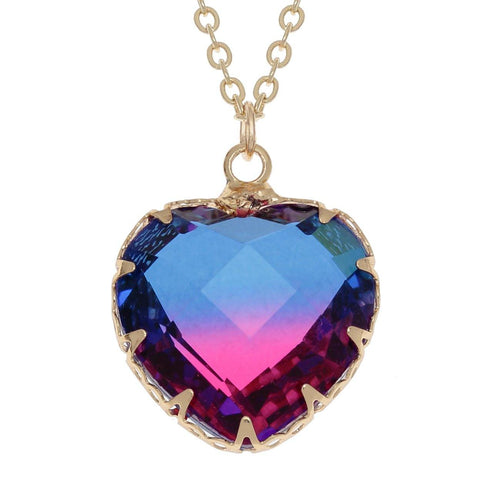 Gold Pink/Blue Two Tone Heart Necklace