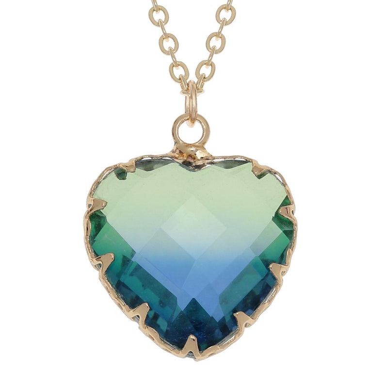 Gold Green/Blue Two Tone Heart Necklace