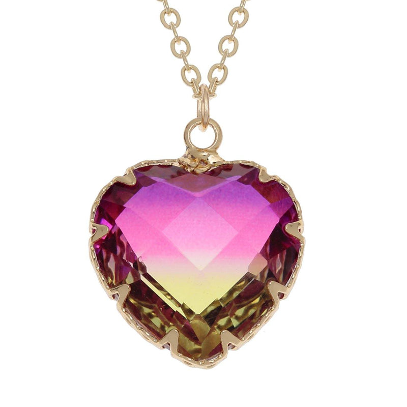 Gold Pink/Yellow Two Tone Heart Necklace