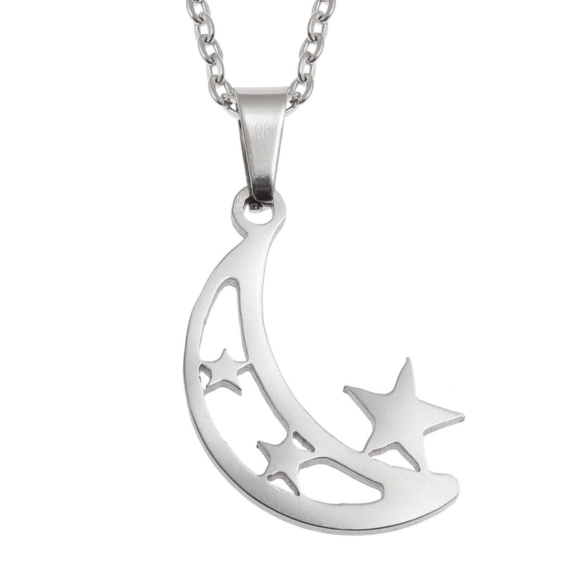 Crescent Moon and Stars Necklace & Earring Set in Stainless Steel