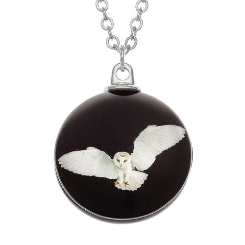 Barn Owl Glass Necklace