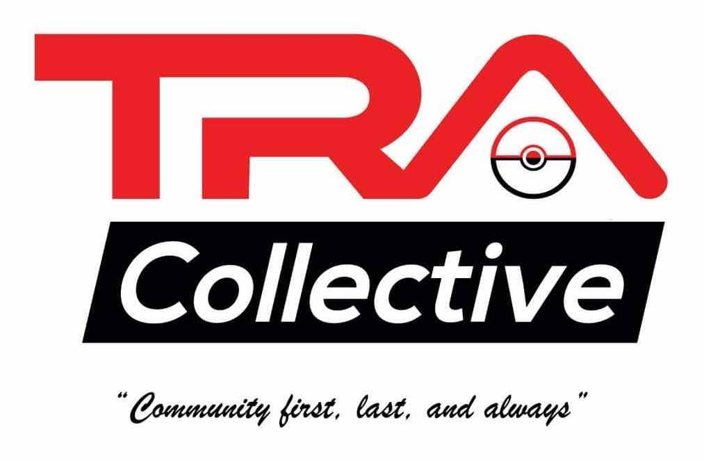 TRA Collective white logo with our tag line