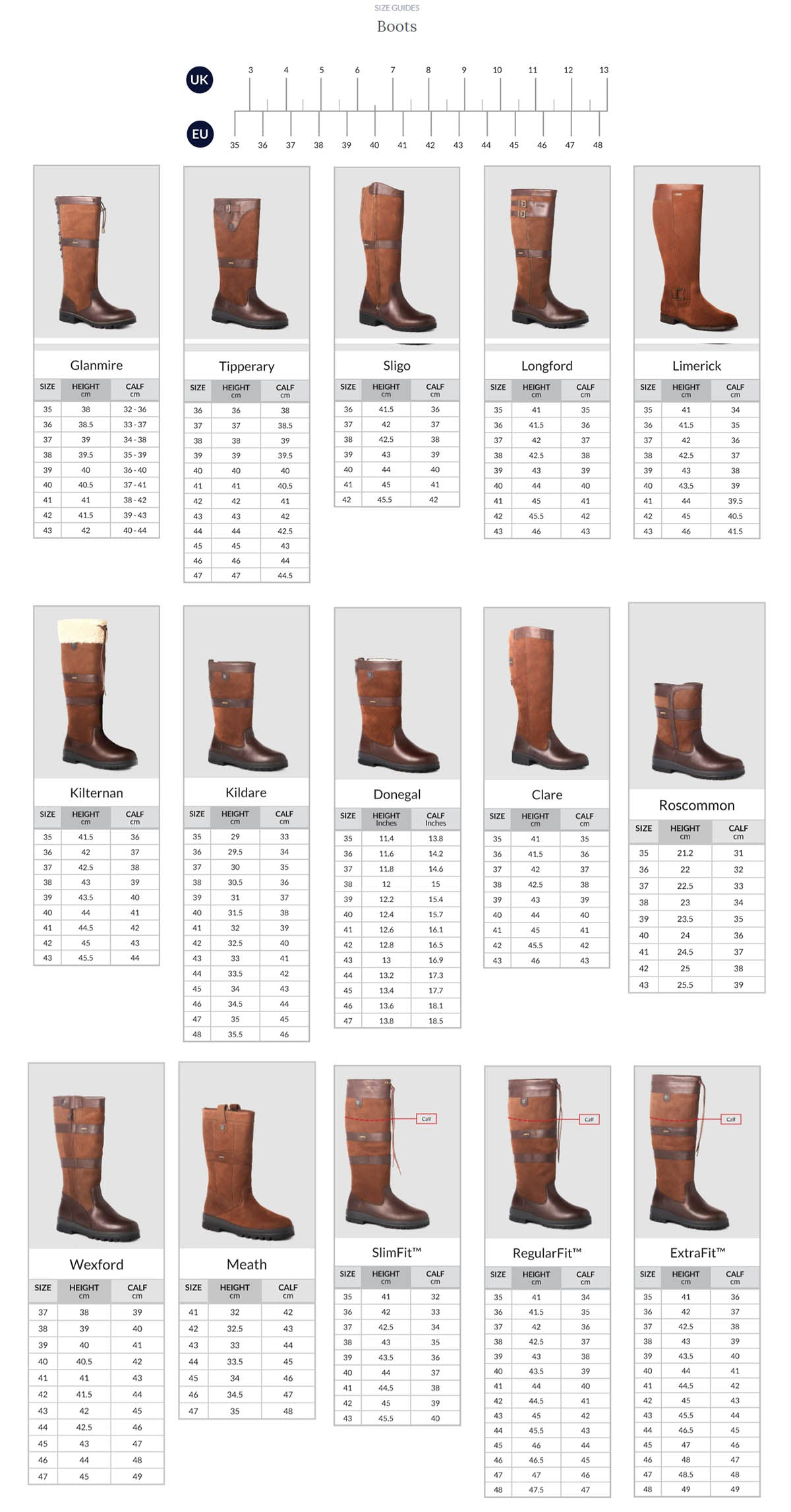 Dubarry Size Guide Gun Hill Clothing Company