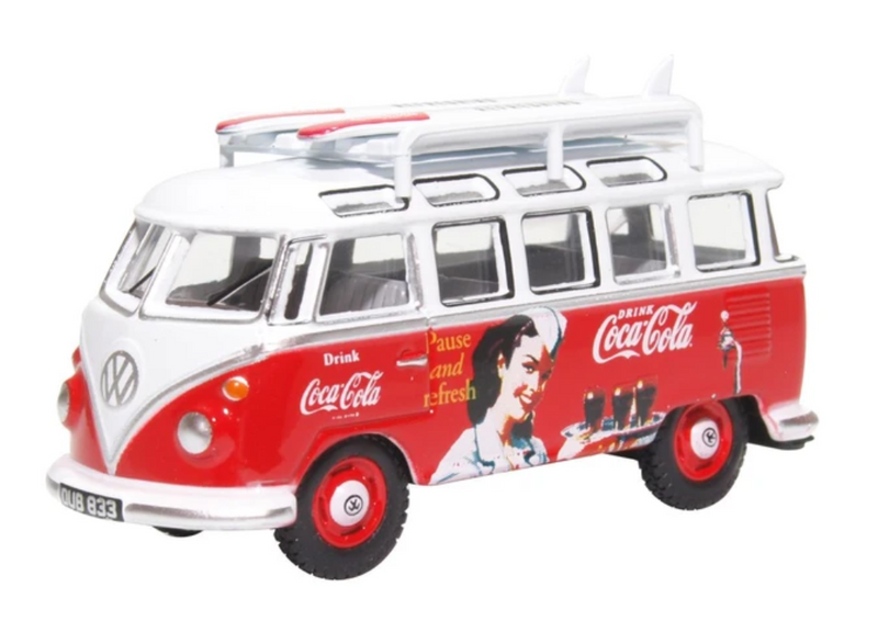 Oxford Diecast OO VW T1 Bus & Surfboards Coca Cola