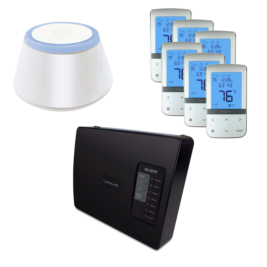 SALUS AKL06PRF-BNDL | Wireless 6pc Thermostat + Six-Zone Pump Relay Controller & Universal Gateway Bundle