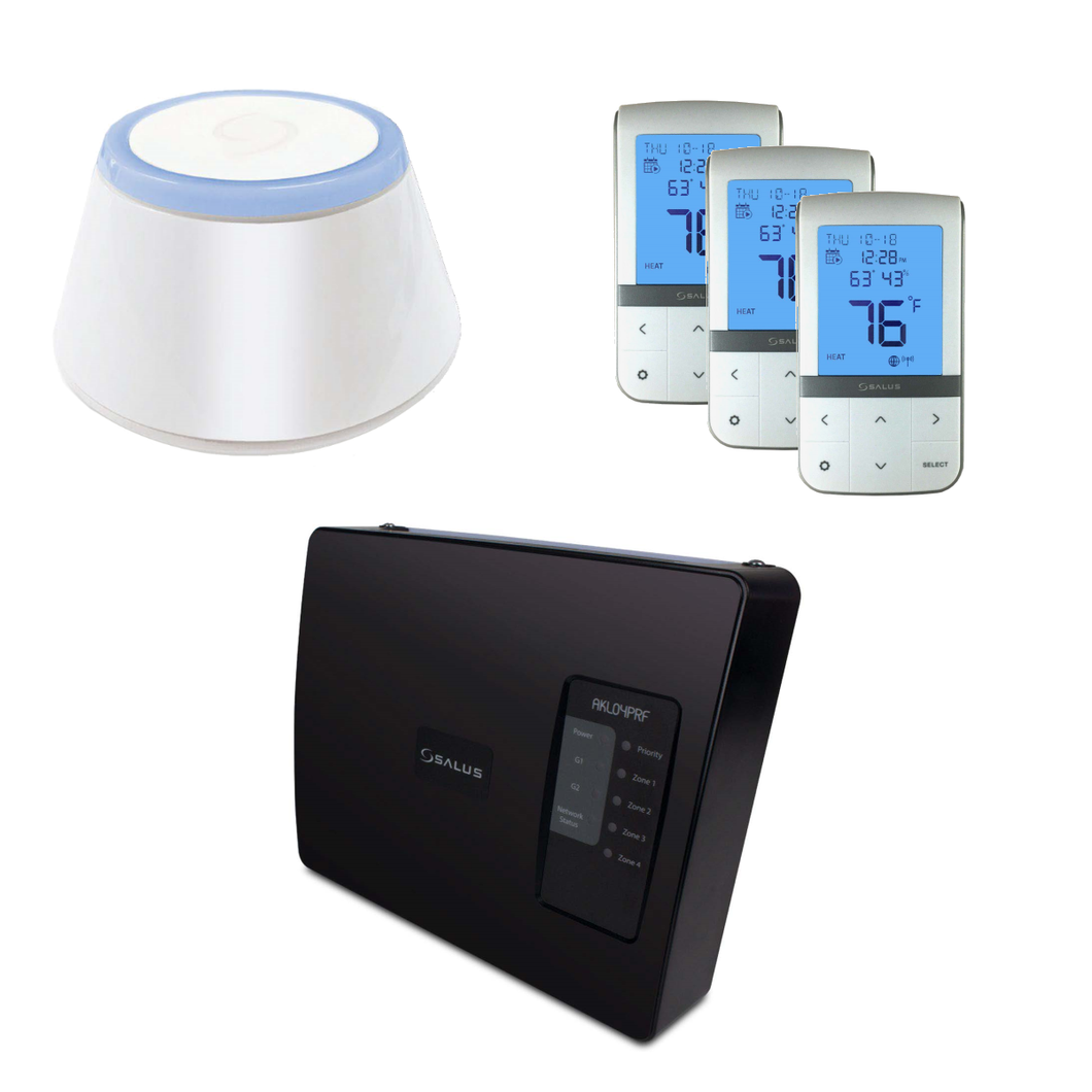 SALUS AKL04PRF-BNDL | Wireless 3pc Thermostat + Quad-Zone Pump Relay Controller & Universal Gateway Bundle