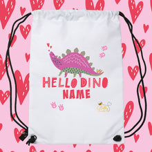 Load image into Gallery viewer, Drawstring / PE Bag - (Personalised)- Dinosaur