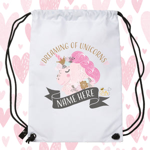 Drawstring / PE Bag - (Personalised) Unicorns