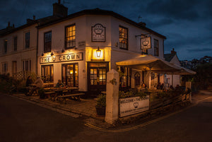 Cornish Crown Brewery pub outside seating at night