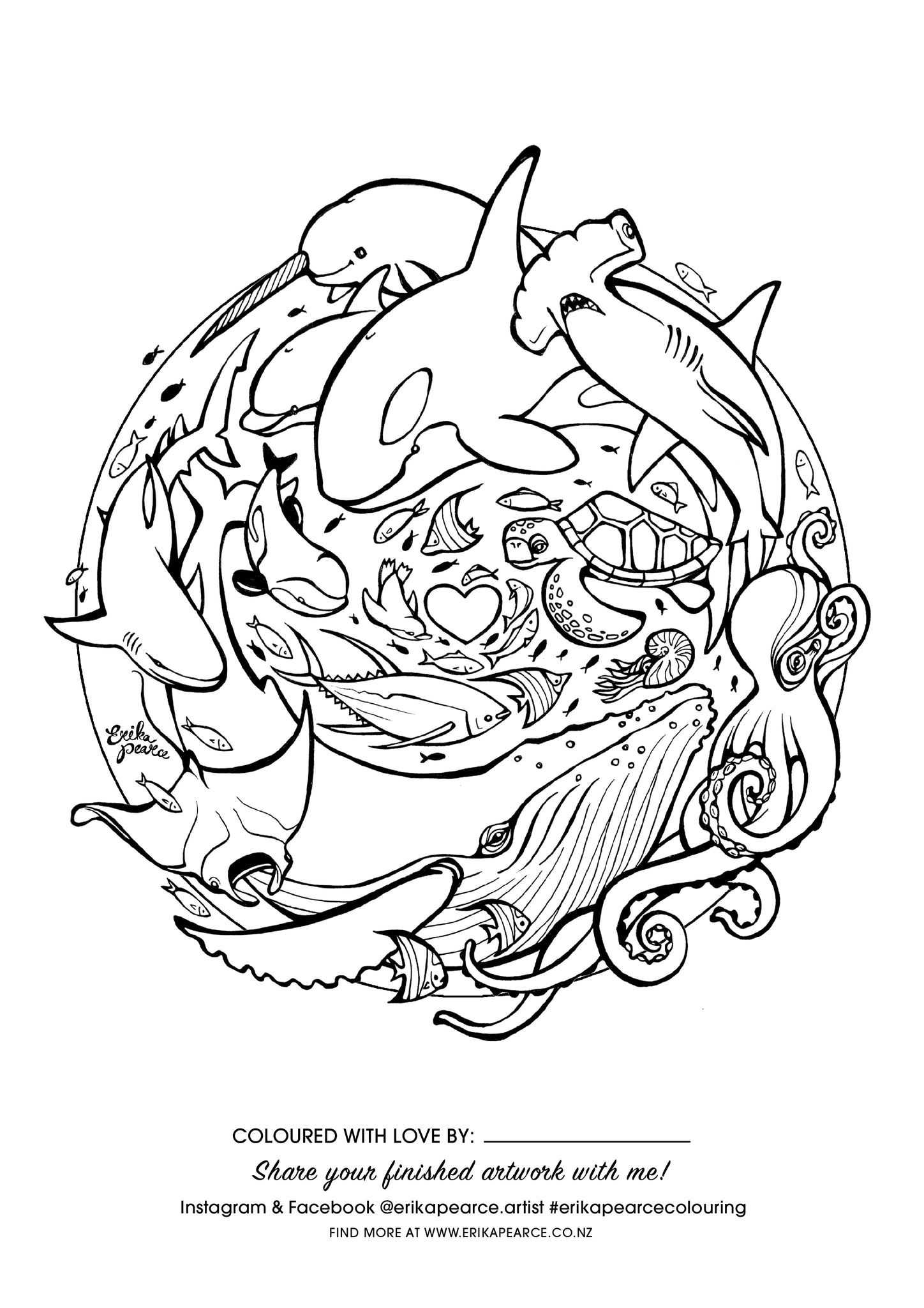 Erika Pearce Artist - FREE Colouring in pages - Ocean Love