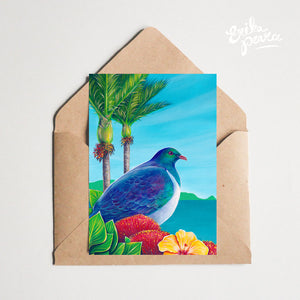 Nikau Kereru Greeting Card