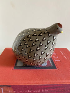 French ceramic quail Grey, black & white