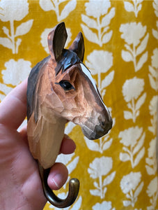 Wooden animal hook - horse